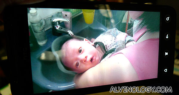 Taking a 3D image of baby Asher with the HTC EVO