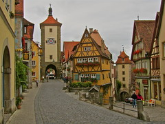 Rothenburg, Germany (cjbphotos1) Tags: travel tower history architecture germany deutschland gate europa europe gates towers eu medieval cobblestones rothenburg walledcity romanticroad hccity