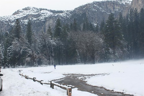 Icy and snowy around Yosemite  National Park, California during winter