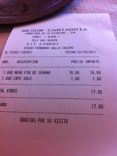 Pobes | Mesón Cantabria | La cuenta