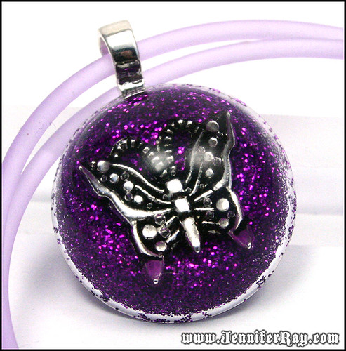 Grape Butterfly Pendant - Purple Glitter with Butterfly in Resin Necklace by JenniferRay.com