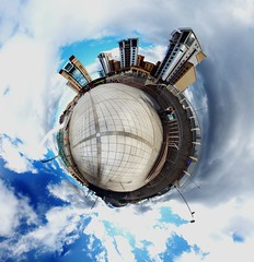 Gateshead Quayside Stereographic Projection (Phil 'the link' Whittaker (gizto29)) Tags: panorama sage tynebridge milleniumbridge rivertyne stereographic gatesheadquayside newcastlequayside miniplanet samyang8mmfisheye gizto29 homebakedpanohead