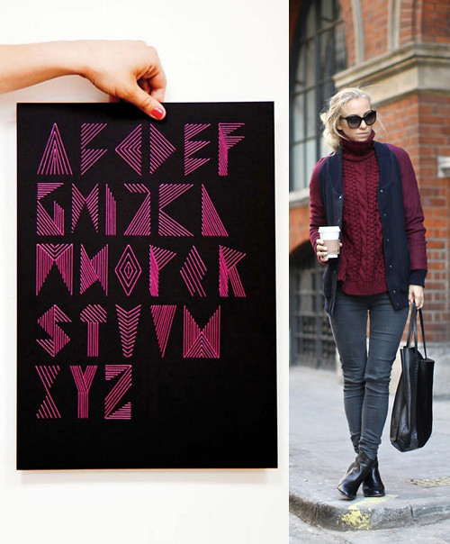 Type + Fashion, Fashion - Peppermint Cappuccino via 5inchandup, Alphabet Typography Graphic Design, Abstract Typography