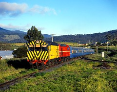 Trains In Tasmania - X-18 + Y-2 at Bridgewater Junction (Trains In Tasmania) Tags: train australia x scan dvr tasmania ee passengertrain pentax6x7 englishelectric canon8400f tgr xclass x18 derwentvalleyrailway bridgewaterjunction trainsintasmania