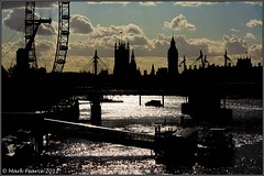 Thames Skyline Silhouette (Mark J Pearce) Tags: uk bridge london silhouette thames clouds canon river eos boat housesofparliament londoneye waterloobridge mjp 450d