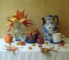 October's Opal. (Esther Spektor - Thanks for 10+ millions views..) Tags: blue autumn light red stilllife food plants brown white reflection art cup water glass leaves yellow fruit table october ceramics artistic linen burgundy decorative creative peach plum plate bowl explore ornament vase teapot bouquet dishes tablecloth 1001nights pitcher grape everydaylife bodegon naturemorte artisticphotos naturezamorta stillphotography esimages
