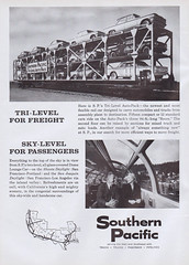 Southern Pacific hauls Corvairs! (Alex Nunez) Tags: railroad train magazine advertising ad trains scan 1960 corvair southernpacific magazinead trainsmagazine september1960 trilevel adscan autopack