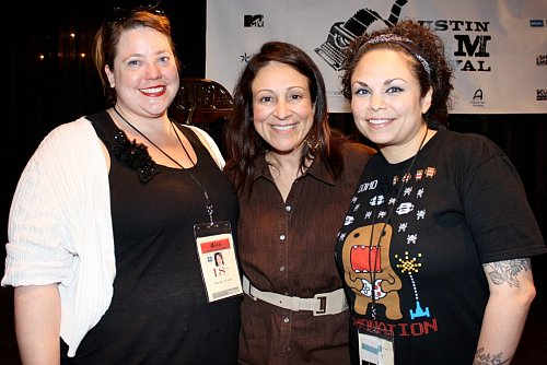 Elizabeth Avellan with Sarah Fisch of BRANDsplanglish productions and Mariella Sonam Perez