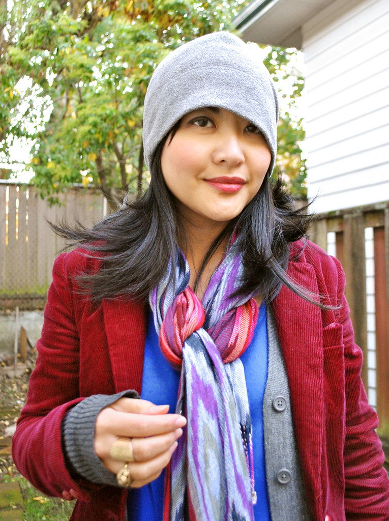Fall Outfit - Burgundy Corduroy Blazer - Twisted Ikat Scarf - Fleece Hat