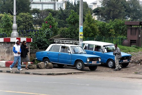 Some of Addis's Peugeot Taxis