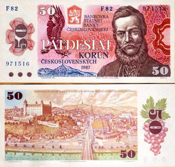 50 Kčs III. Päťdesiat korún Československo 1987