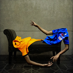organic and inorganic (Carlos Castaeda') Tags: blue light vortex yellow wall shadows arms surrealism carlos eerie shirts faceless conceptual disappear texturesbylesbrumes unevenvortex