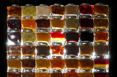 Mur de confiture // Wall of Jam (Alexander JE Bradley) Tags: stilllife orange paris france reflection apple wall closeup backlight strawberry cherries fig chocolate screen banana watermelon coco pineapple mango raspberry jelly apricot chestnut barrier peaches vanilla lime kiwi melon jam fr preserve partition marmalade whiterose got confiture grandmarnier conserve compote fruitspread tuttifruity wallofjam thetchocolat parisproduct ledeframce