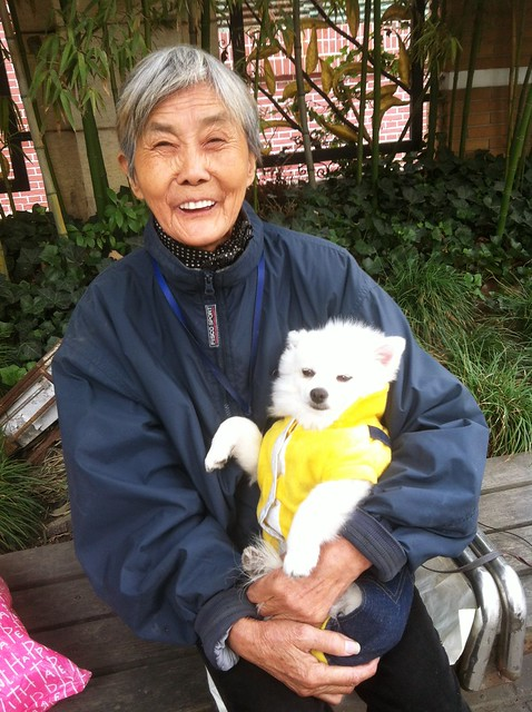 Happy Old Lady with a Dog