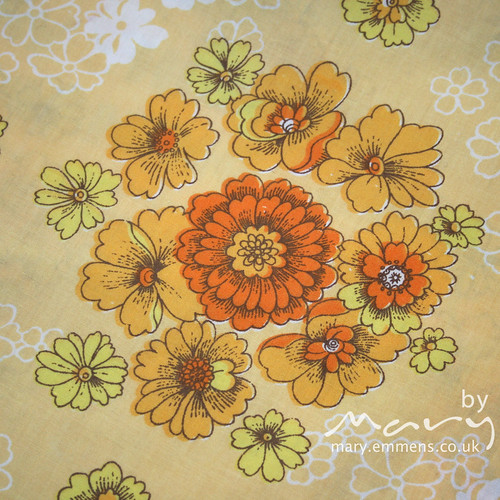 Vintage sheet - yellow/orange floral