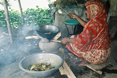 Cooking a fish dinner, Bangladesh. Photo by CBFM-Fem Com Bangladesh, 2006