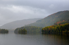 Peace (Brian D. Tucker) Tags: autumn fall water clouds maine hills highway27 chainofpondstownship