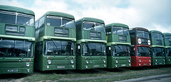 AN line up at Grays Garage (Auction) 25 June 1988 (national_bus_510) Tags: nbc parkroyal nationalbuscompany leylandatlantean londoncountrybusservices lcbs pdr1a1special