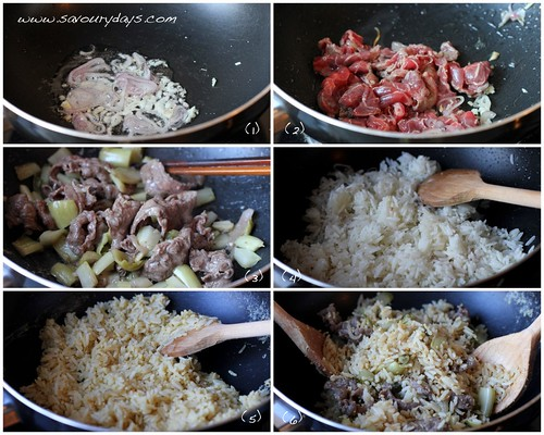 Fried rice with beef and mustard greens - method 1