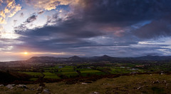 Sunrise over Bray (Voimki) Tags: ireland clouds sunrise sunburst sugarloaf bray eastcoast wicklowmountains fileds brayhead canonef15mmf28fisheye littlesugarloaf canoneos5dmarkii lookingdownfromaheight
