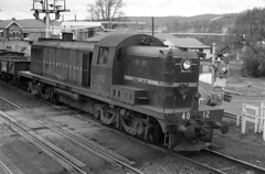 an afternoon in 1970:  1 (sth475) Tags: railroad blackandwhite bw monochrome train vintage spring diesel bracket railway loco australia historic negative nsw scanned gasworks locomotive 1970 signal levelcrossing infocus alco goulburn mlw highquality 4012 mainsouth boomgate southerntablelands nswgr nswr rsc3 40class rpaunsw40class railpage:class=40 railpage:loco=4012 rpaunsw40class4012