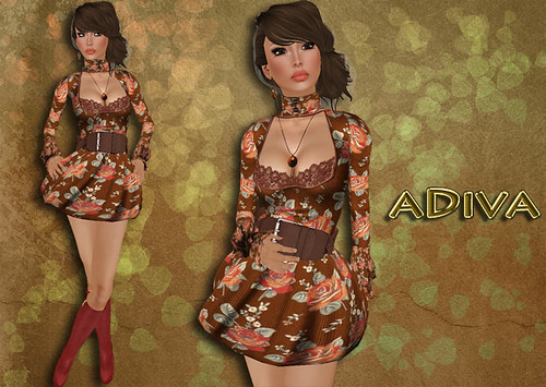 aDiva couture Riel Lace Dress Multicolor Rust