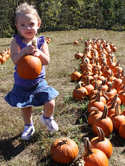 Bella got her Pumpkin (byrdiegyrl) Tags: trip pumpkin twins october babies northcarolina bailey bella hayride pick patch 2011