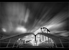 Lowry bridge burst........ (Chrisconphoto) Tags: longexposure blackandwhite bw manchester salfordquays le lowry weldingglass
