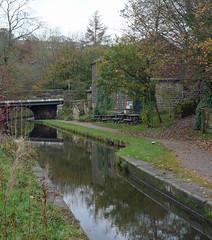 Huddersfield Narrow Canal (jrw080578) Tags: bridge autumn trees reflections canal benches saddleworth huddersfieldnarrowcanal