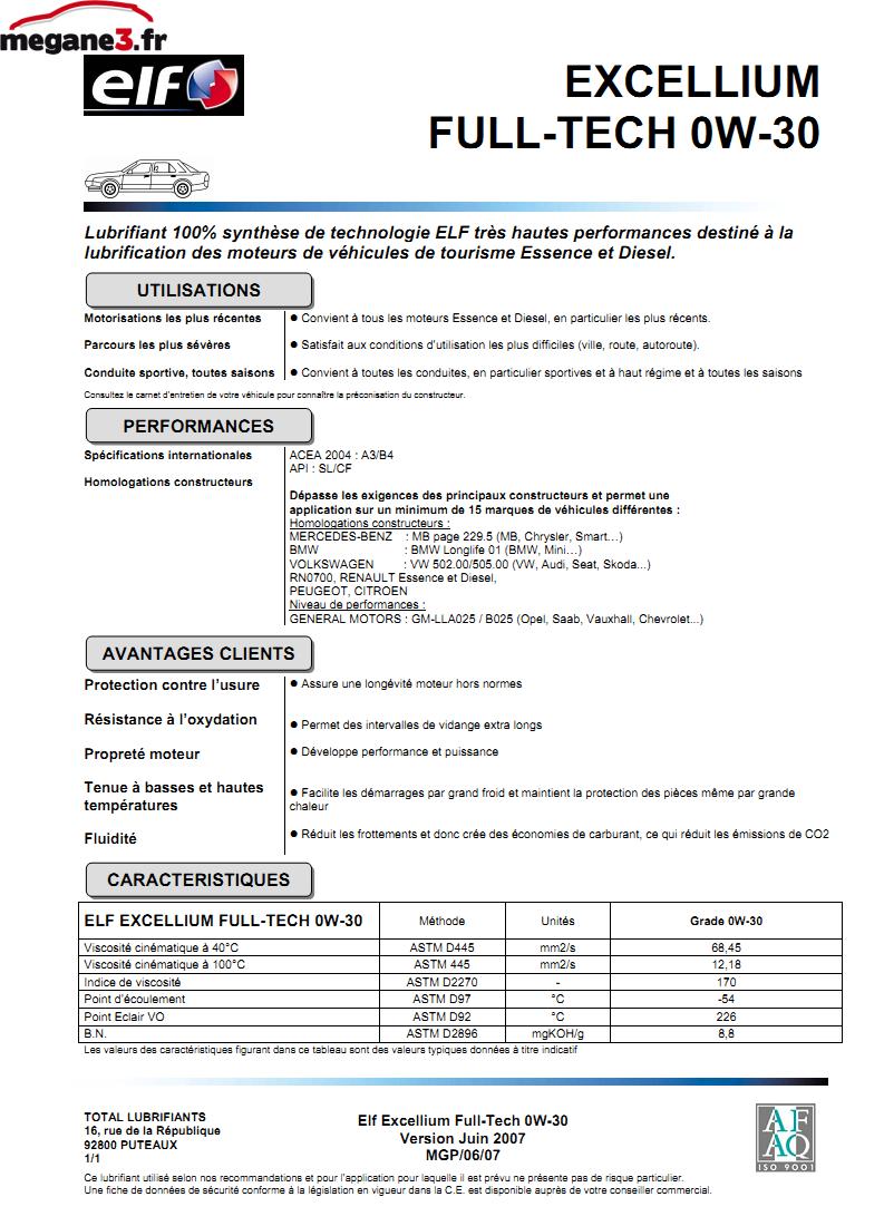 Normes et huile à utiliser sur Mégane 3 - megane3.fr