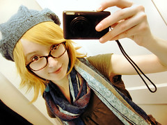IMG1 (natl1046) Tags: blue portrait cute me girl hat glasses colours pixie elf blonde