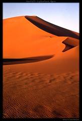 March 1975 - Erg Bourharet, Algeria (MrGGBen) Tags: africa travel sunset algeria desert northafrica dune curves arab maghreb oldphoto oldphotograph erg ergbouhraret