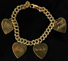 4048. 10-12KT Gold Charm Bracelet with Charms