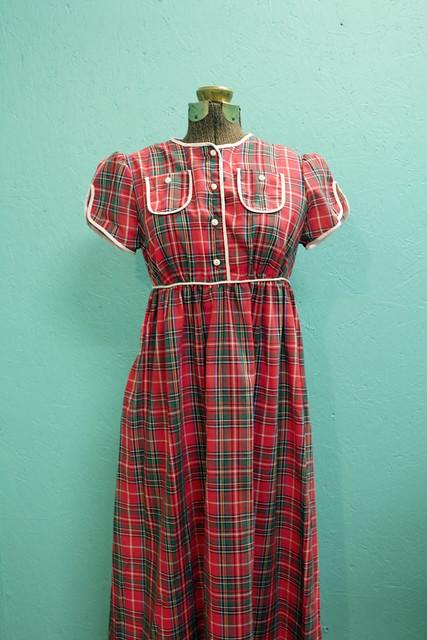 Plaid long cotton dress