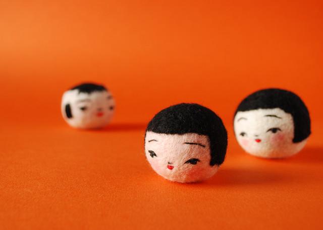 Three Kokeshi Heads