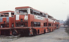 London Transport . MD104 OUC104R ( rear view ) . Kingston Coal Yard . 15th-January-1980 . (AndrewHA's) Tags: bus kingston metropolitan scania withdrawn londonbus londontransport mcw stored br111dh metcamm md104 ojd104r