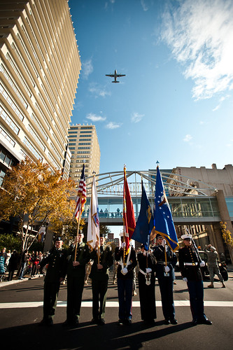 Louisville parade and Massing of the Colors honor veterans