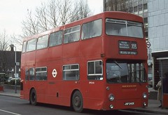 London Transport . DMS242 JGF242K . Ruislip Station , London . 11th-February-1980 . (AndrewHA's) Tags: bus daimler fleetline parkroyal uxbridge londontransport ruislip crg6 dms242 jgf242k route223