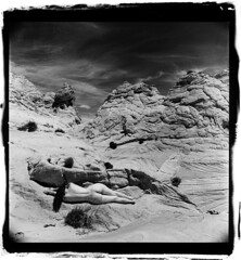 Coyotes Buttes (silke s.) Tags: arizona selfportrait 120 6x6 film mediumformat ilfordhp5 redfilter hasselblad500cm anaolg autaut coyotesbuttessouth silvergelatinprintscan