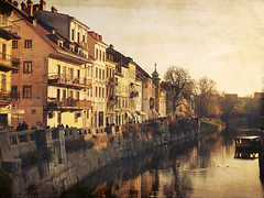 Fading Memory 2 (Union*) Tags: old bridge autumn houses fall texture river boat warm capital slovenia ljubljana gallus embankment ljubljanica stara nabreje gallusovo