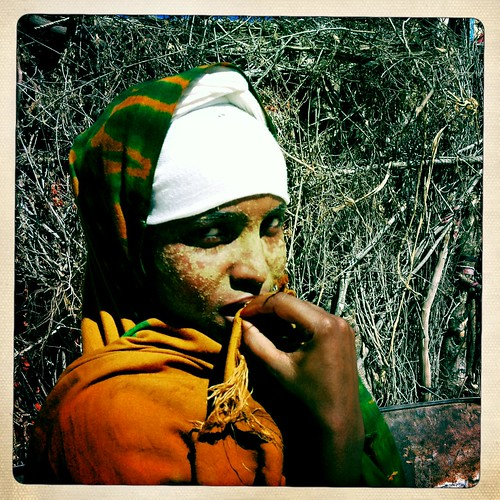 Young woman in Lasadacwo with qasil on her face Somaliland  thru Iphone Hipstamatic