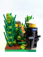 Caught! (ChicoGoya) Tags: brick toy funny lego police custom minifigure nightstick sidan brickforge tacticalvest minifigcat
