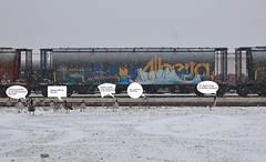 Hoek (LadyBench) Tags: winter snow train graffiti winnipeg rail humour freight hoek fr8 boids benching k6a