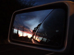 Side mirror (Home Land & Sea) Tags: sunset newzealand sky reflection silhouettes nz sidemirror napier sonycybershot movingcar hawkesbay wingmirror homelandsea dschx100v