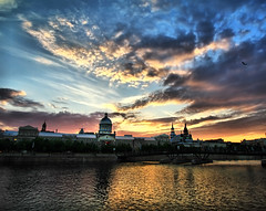 Montreal Sunset (` Toshio ') Tags: old sunset people canada building brick history classic water architecture clouds harbor montreal perspective basin historic dome oldmontreal oldtown marchebonsecours toshio