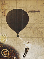 The Time Traveler's Wife (Sophie_May_) Tags: old girl photoshop sketch flying punk texas map drawing balloon grain victorian steam teen adobe teenager airship hotairballoon noise cogs edit steampunk oldmap cs5 sophiemayphotography