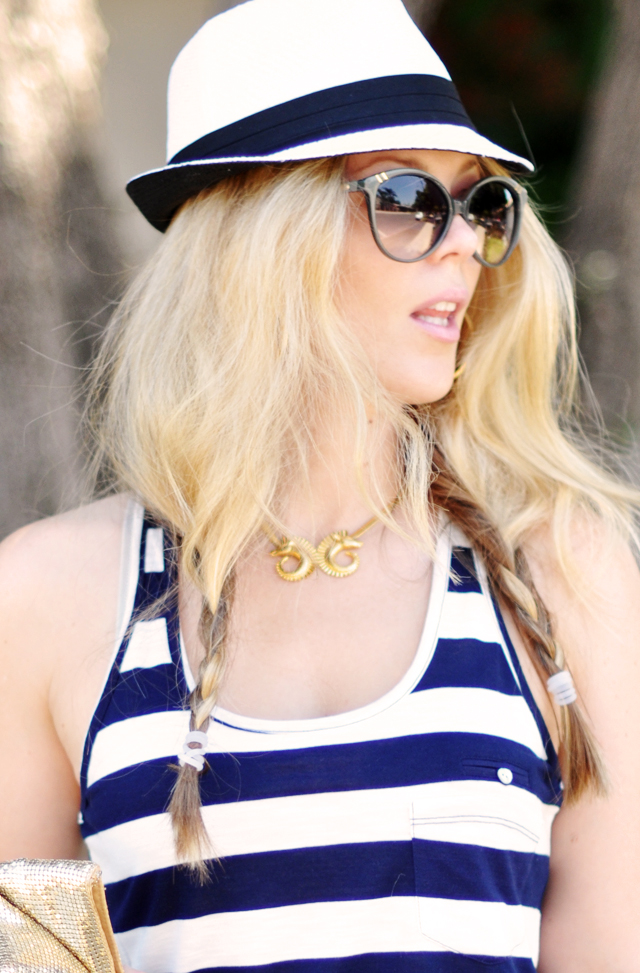 hat + sunglasses +  stripes + braids