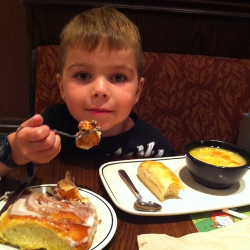 Project 365 185/365: Chicken noodle soup and cinnamon rolls for Angry Kid @CornerBakery.