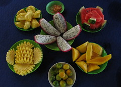 Mekong Delta Fruits, Vietnam (adventurocity) Tags: travel vacation tourism fruit photography photo photographer picture visit tourist traveller vietnam watermelon adventure pineapple mango lime melon mekongdelta visitor mekong thanhlong jackfruit dragonfruit chanh traveler indochina mekongriver southvietnam mt southeastasiaasia xoi da dahu minnam namvit