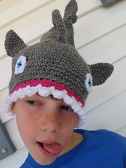S modeling the shark hat #2